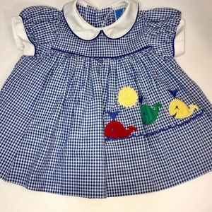 Other - Vintage TODDLE-TYKE Gingham Dress Whales 6 Mon